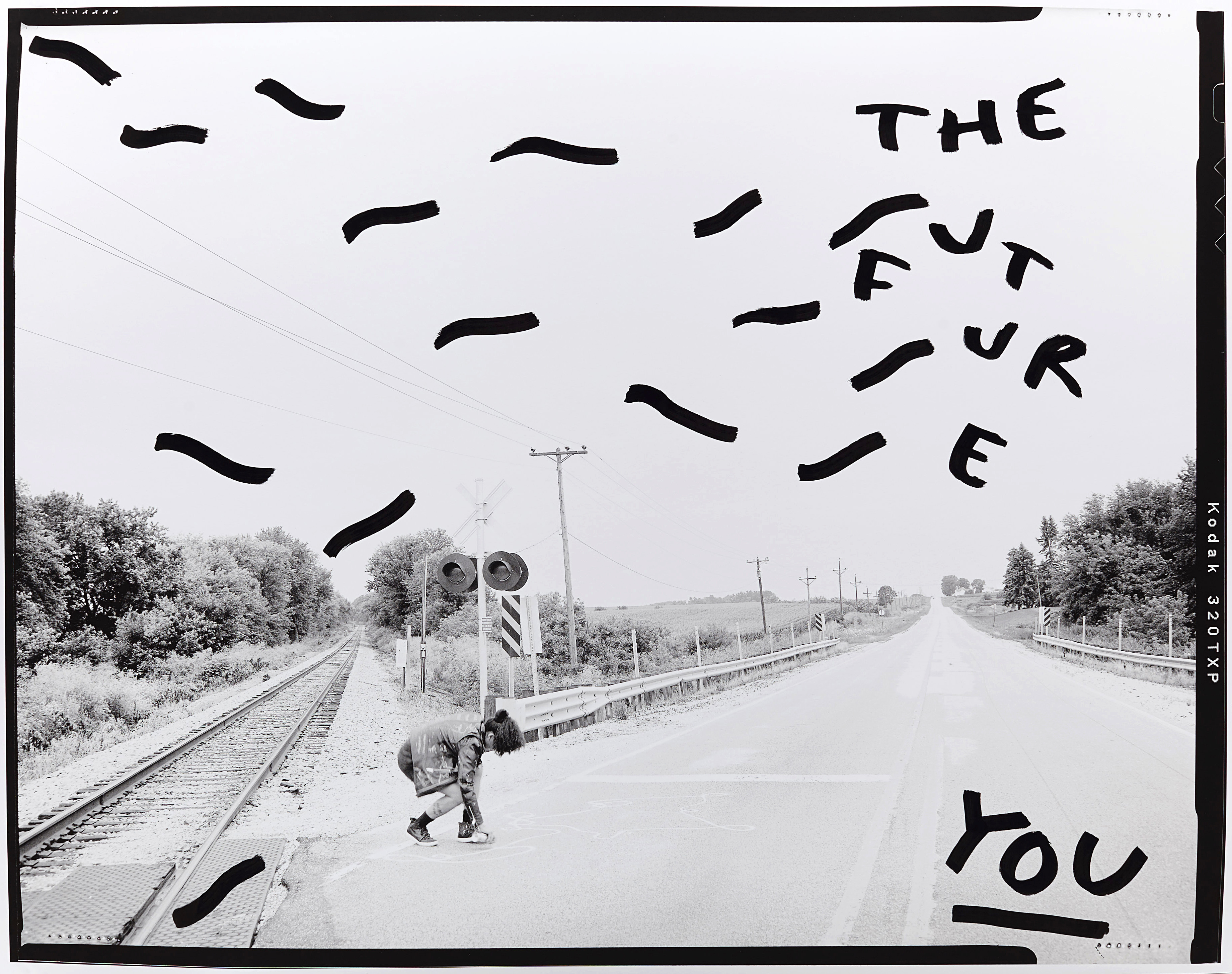 Theo Coulombe, <i>Minnesota Grade Crossing </i>, 2017, pigment print with ink, 32x 40 in.