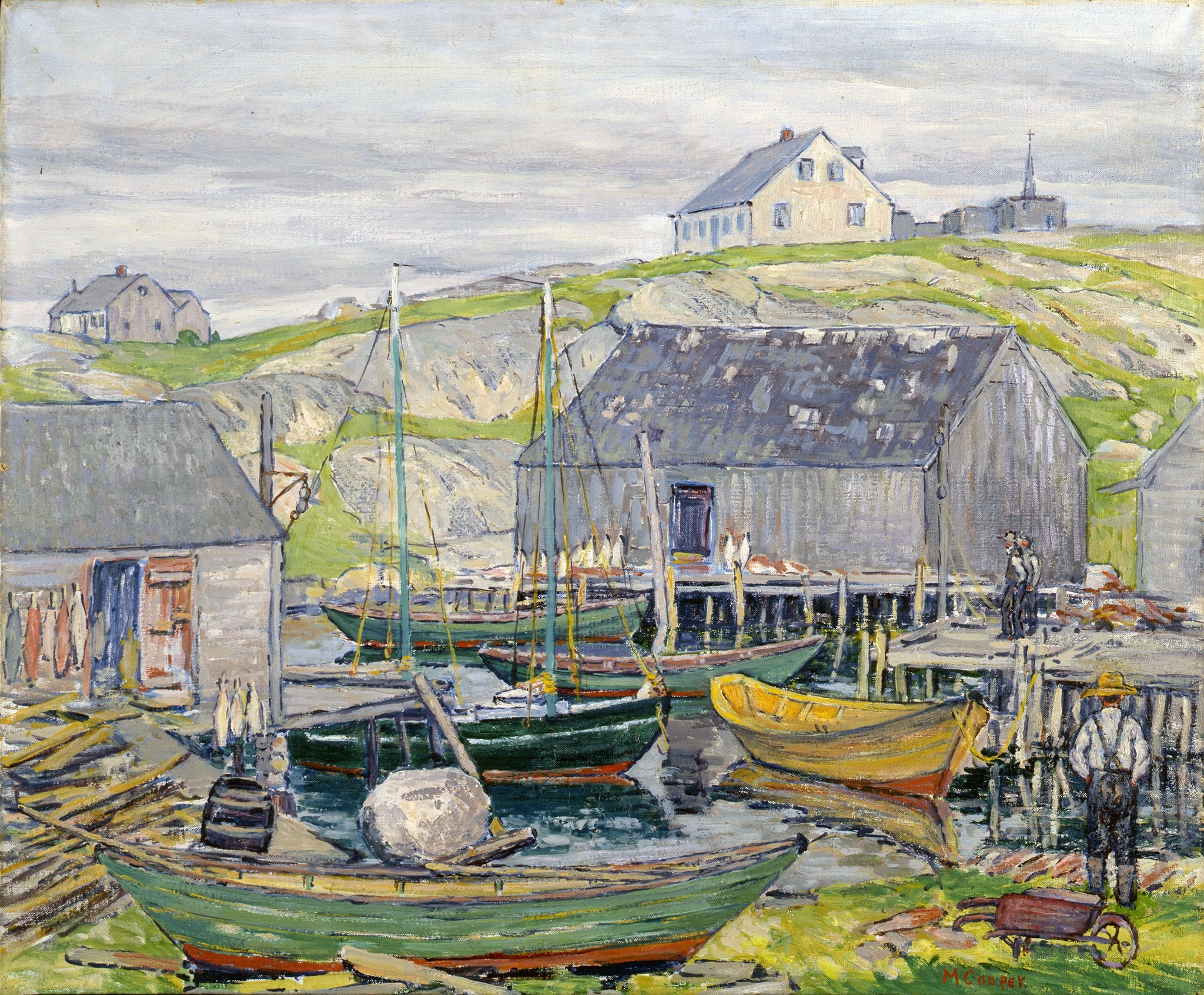 """Margaret Miller Cooper, <i>Fishing Boats, Nova Scotia</i>, Peggy's Cove,"""" 1929, Oil on canvas, 25 x 30 in., Grace Judd Landers Fund"""