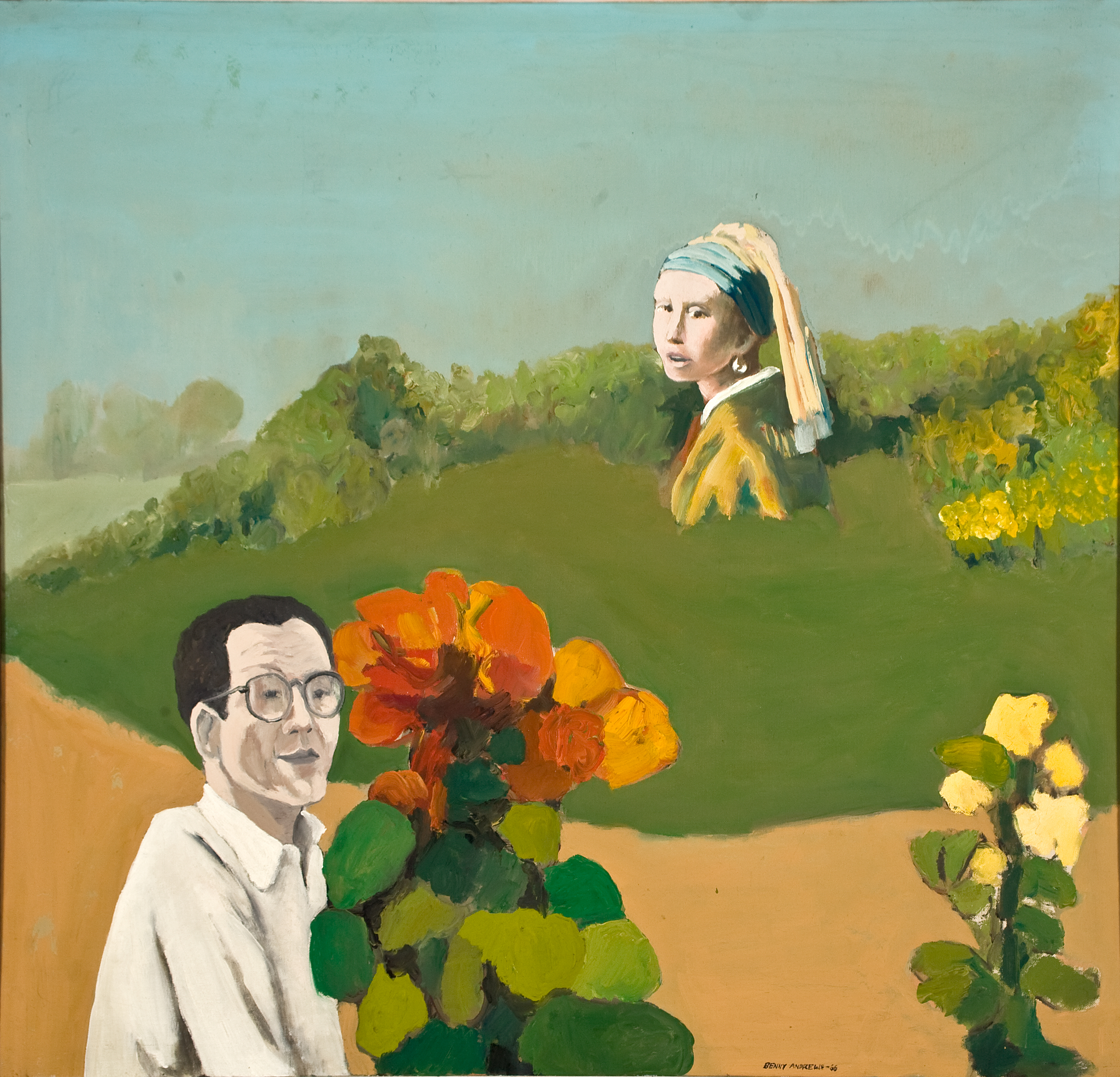 """Benny Andrews, """"George Deem,"""" 1966, Oil on canvas, 28 1/4 x 29 3/4 in.,  Gift of the estate of George Deem"""