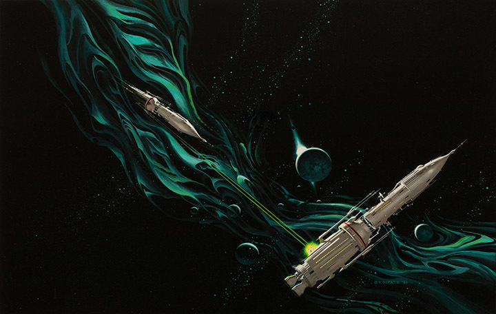 "Vincent DiFate, ""Space is a Form Turned in on Itself,""  1992, Acrylic on hardboard, 15 3/4 x 23 1/2 in., Gift of the artist"