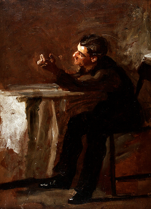 "Thomas Eakins, ""The Timer,"" ca. 1879, Oil on panel, 14 1/4 x 10 1/4 in., Harriet Russell Stanley Fund"