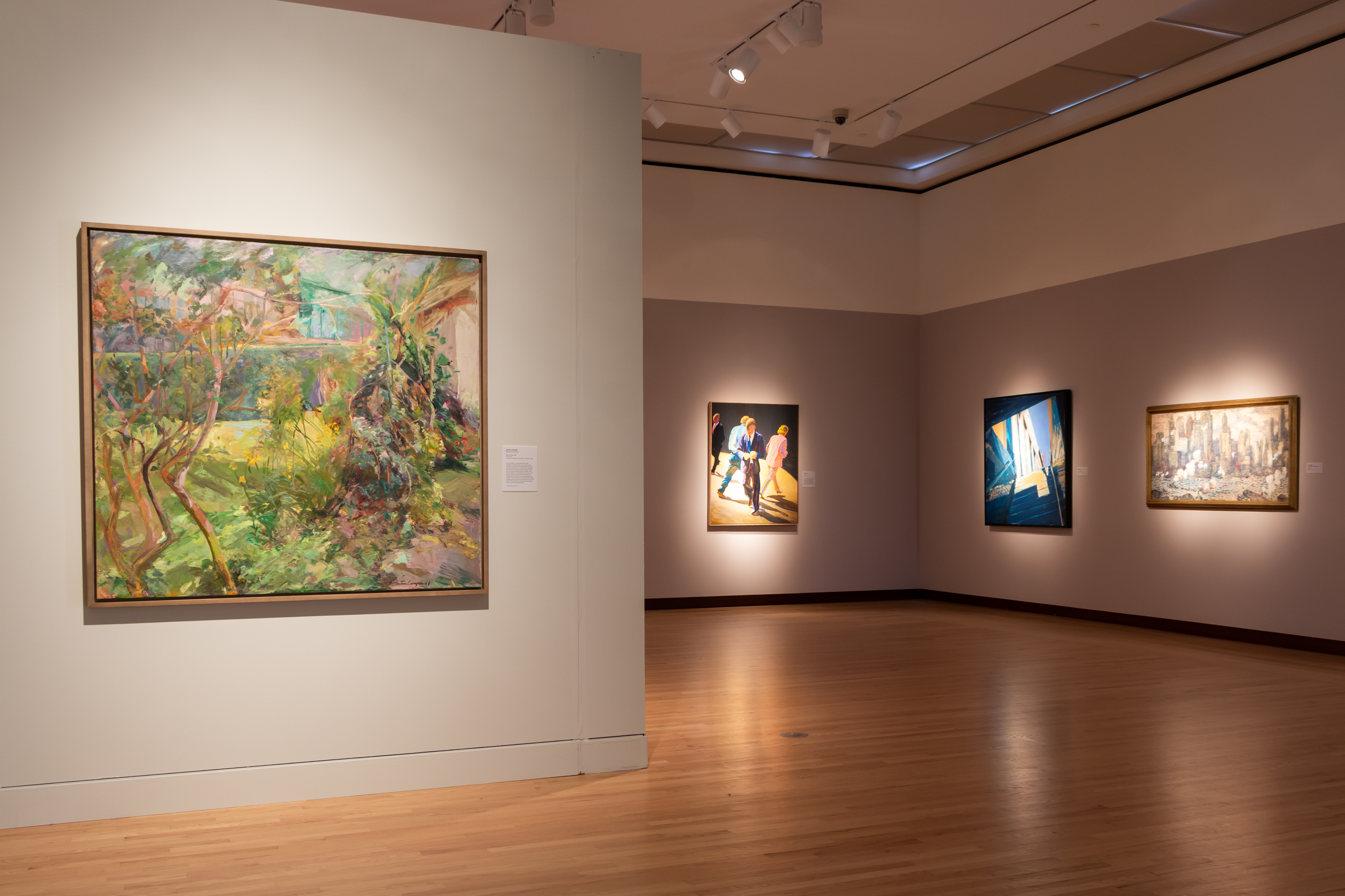 """Pictured: Gretna Campbell, """"Garden in Brazil,"""" William Clutz, """"Autumn Street,"""" David Kapp, """"Coming out of the Subway,"""" Guy Carleton Wiggins, """"Manhattan"""""""