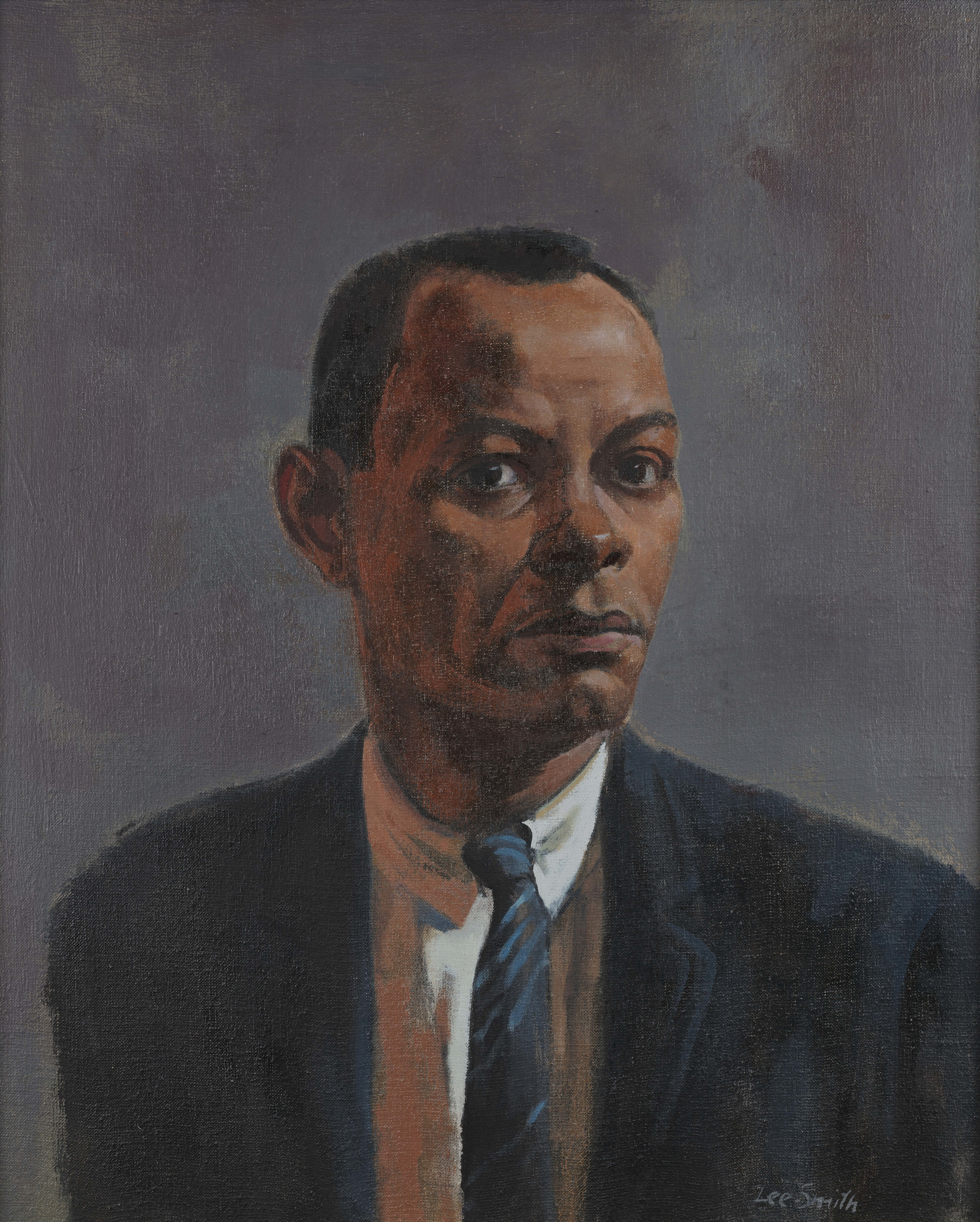 "Hughie Lee-Smith, ""Self-Portrait,"" Oil on canvas, 24 x 20 in., National Academy of Design, New York"