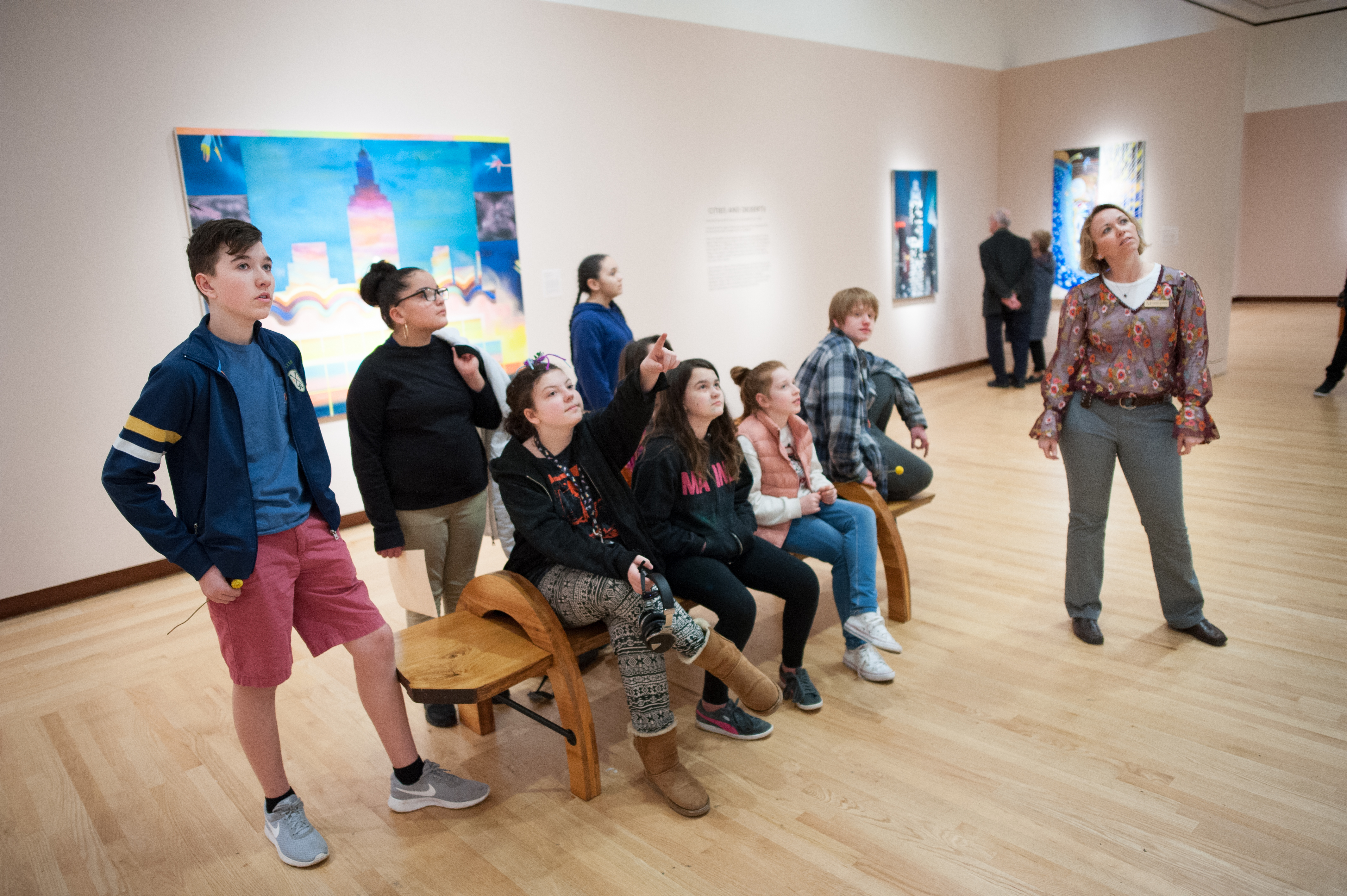 A youth drawing 101 class in the Museum's galleries