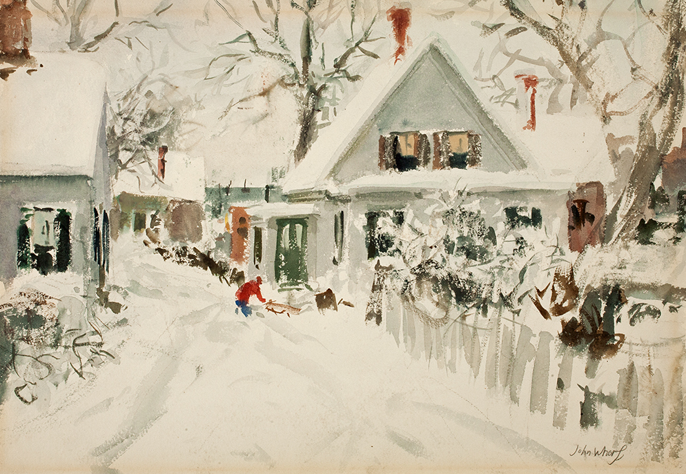 "John Whorf, ""New England Winter,"" ca. 1940, Watercolor on paper, 15 1/2 x 22 3/8 in., Gracce Judd Landers Fund"