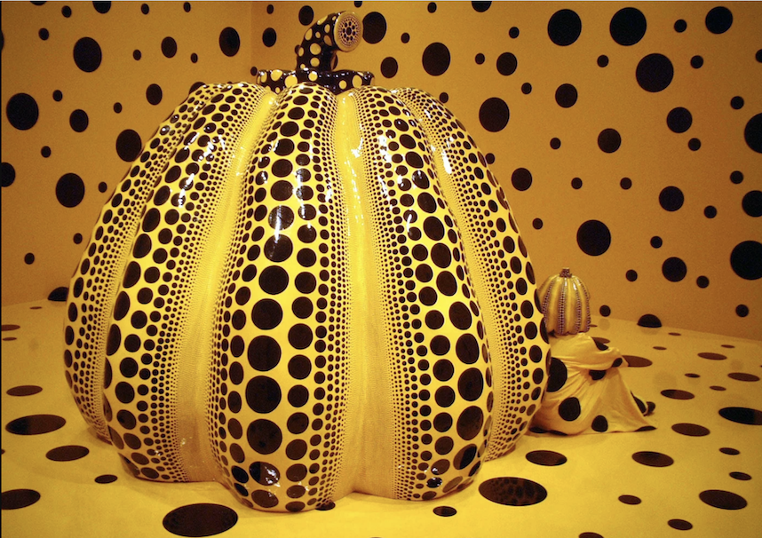 "Pictured is an image from a past installation. ""Kusama with Pumpkin,"" 1998, Courtesy Ota Fine Arts, David Zwirner, and Victoria Miro © YAYOI KUSAMA"