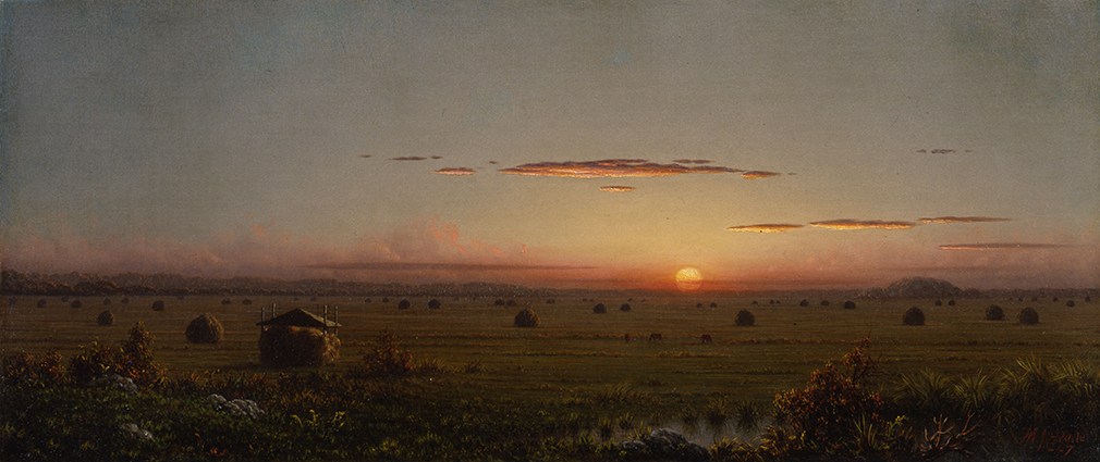 "Martin Johnson Heade, ""Ipswich Marshes,"" ca. 1867, Oil on canvas, 12 x 28 in., Stephen B. Lawrence Fund"