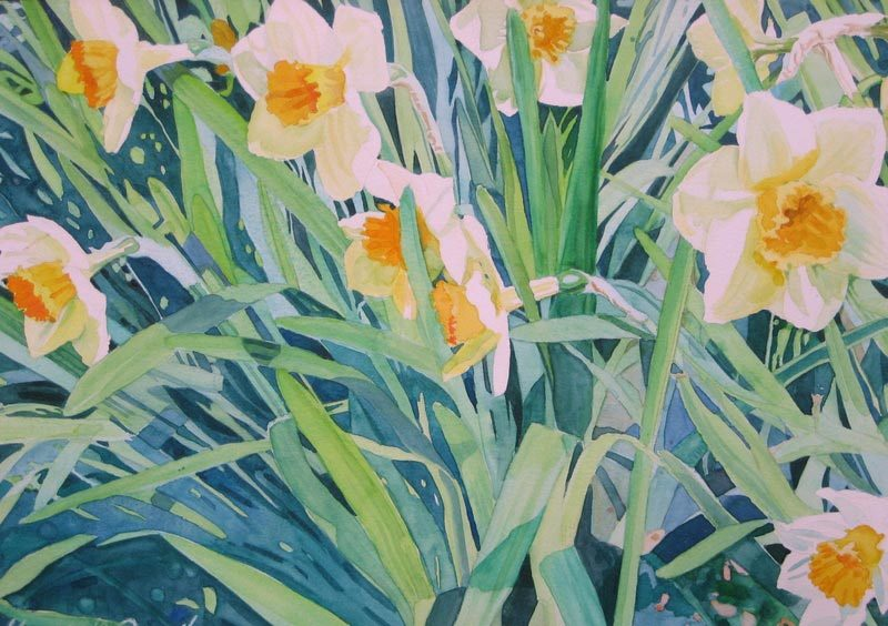 "Mary Smeallie, ""Daffodils,"" watercolor"