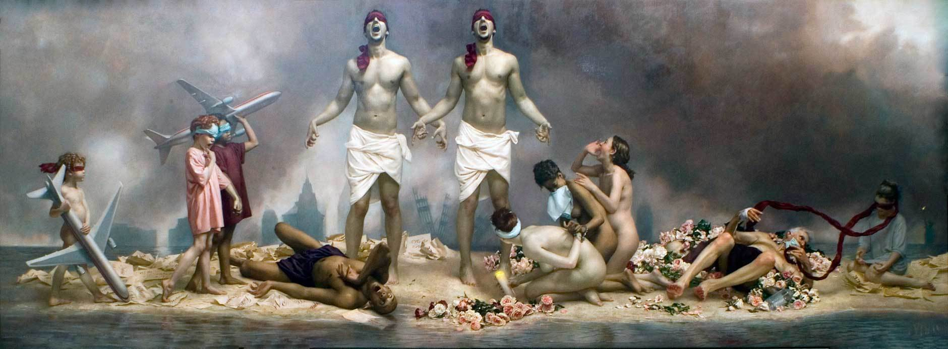 """The Cycle of Terror and Tragedy,"" Graydon Parrish, Oil on Canvas, 76 x 210 in., Charles F. Smith Fund and in memory of Scott O'Brien who died in the World Trade Center, given by his family"
