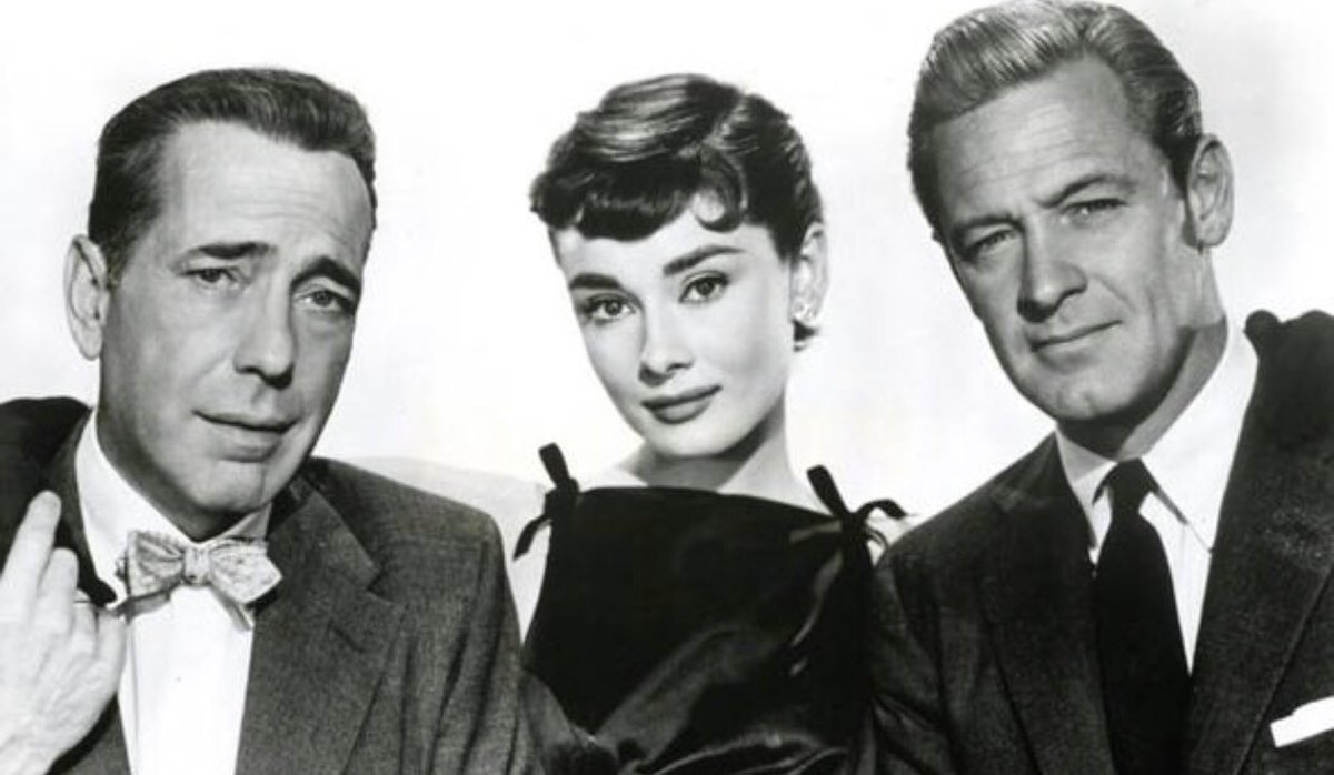 "From left, Humphrey Bogart, Audrey Hepburn, and Willilam Holden, star in ""Sabrina"""