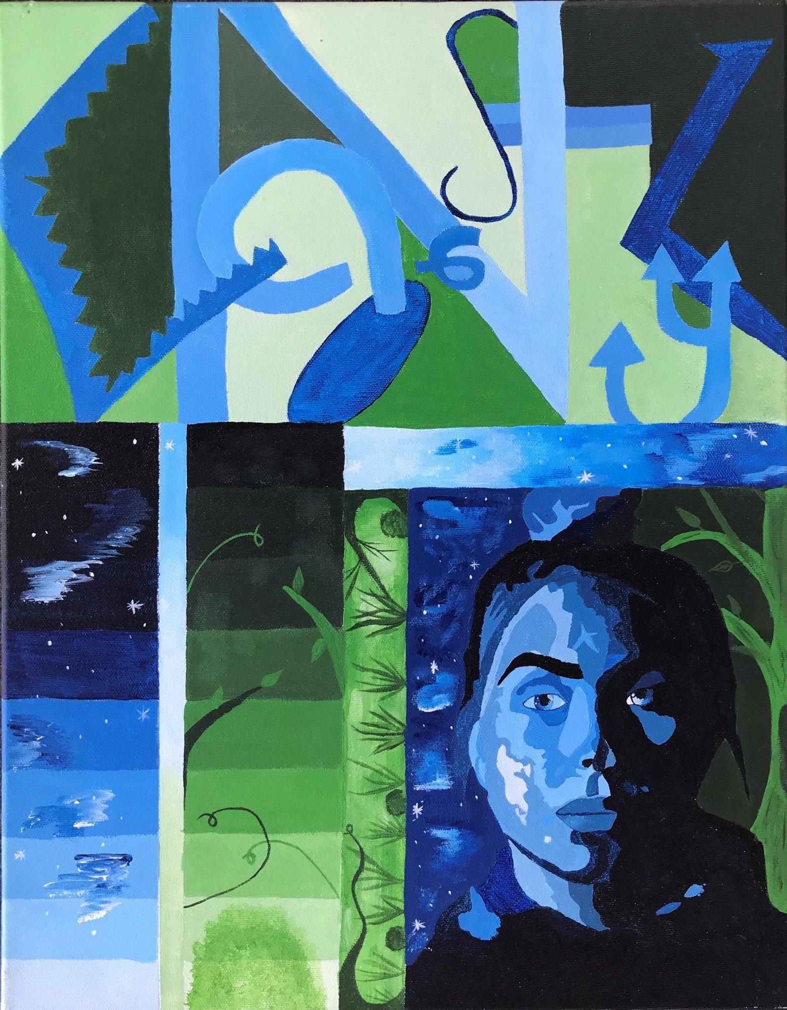 Caitlyn D, New Britain High School, Grade 12, Acrylic Paint on Canvas, Kristina Tsantiris