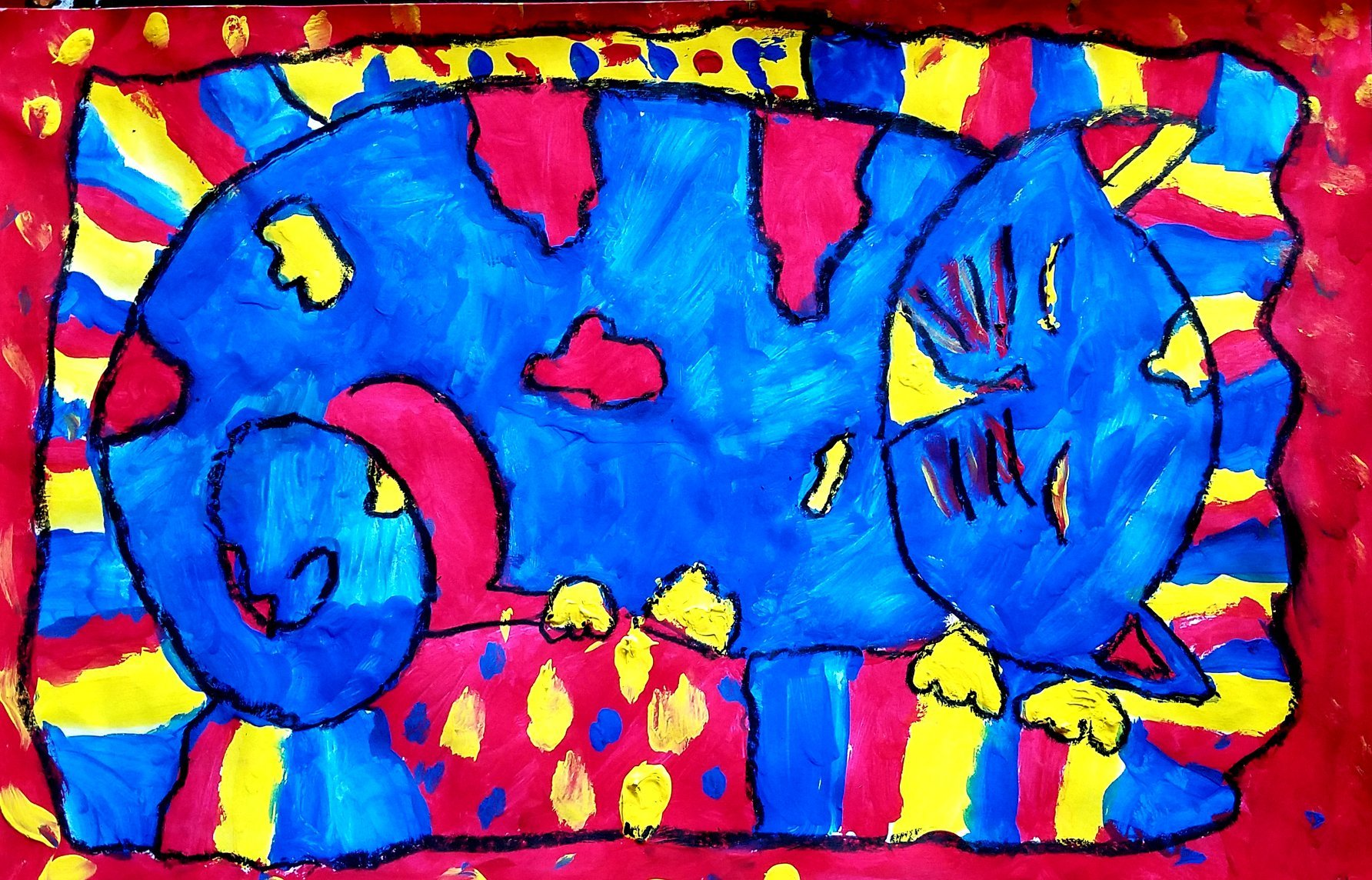 Julia R, Jefferson Elementary School, Grade 3, Tempera and Oil pastel, Kim Gremillion