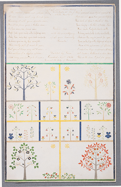 Polly Collins,<i> A Gift from Mother Ann to the Elders of the North Family </i>, 1854, Ink and watercolor on paper, 26 3/4 x 19 1/5 inches, Collection of Hancock Shaker Village, Pittsfield, MA