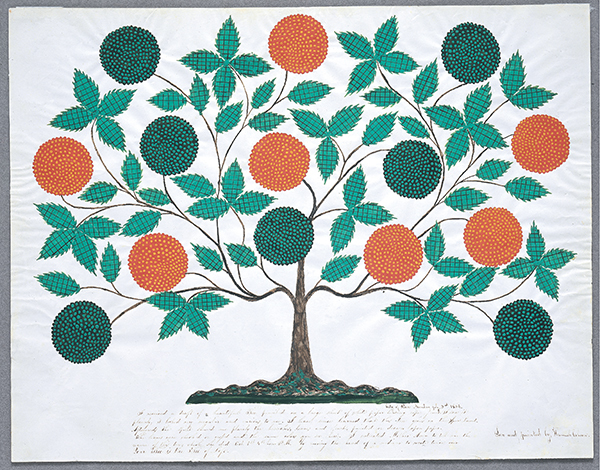 Hannah Cohoon, The Tree of Life, 1854, Ink and watercolor on paper, 18 1/8 x 23 5/16 inches, Collection of Hancock Shaker Village, Pittsfield, MA