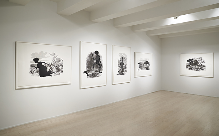 "Kara Walker ""Harper's Pictorial History of the Civil War (Annotated)"" portfolio, 2005, Offset lithography and silkscreen on Somerset Textured paper, Installation view, Pace Prints, New York, 2013, Photo: Pace Prints © Kara Walker"
