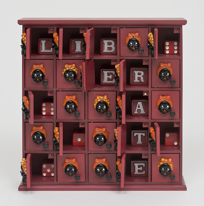 "Betye Saar, ""Liberate (25 mammies),"" 2015, Mixed media assemblage, 12 x 11.33 x 2.5 in., Photo Courtesy of the artist and Roberts Projects, Los Angeles, California; Photo Brian Forrest"