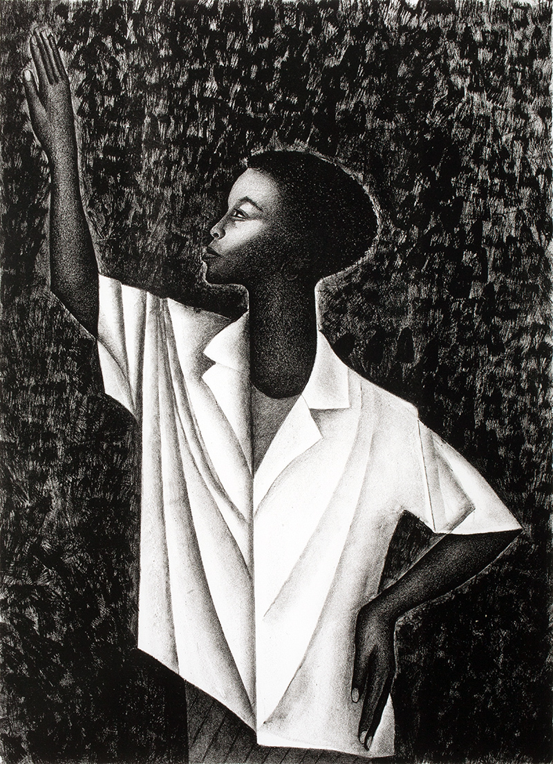 "Elizabeth Catlett, ""Waving,"" 1989, Lithograph, 23 3/8 x 17 in., New Britain Museum of American Art, Jane and Victor Darnell Fund, 1993.60"