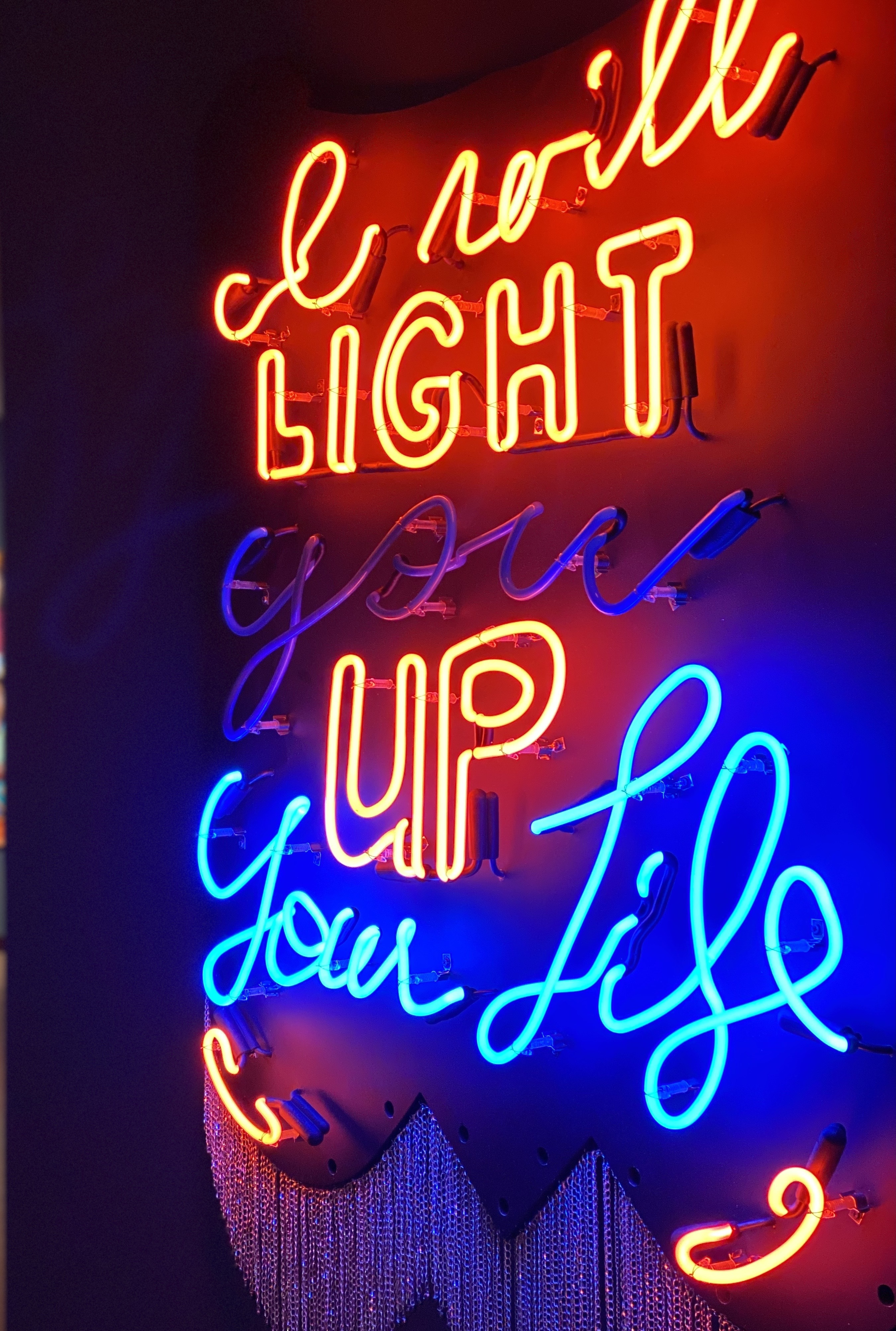 Cauleen Smith, <i>Light up My Life (For Sandra Bland)</i>, 2020, Neon, MDF, paint, faceted hematite and aluminum chain, 48 x 42 in., Courtesy of the Artist and Corbett vs. Dempsey Chicago