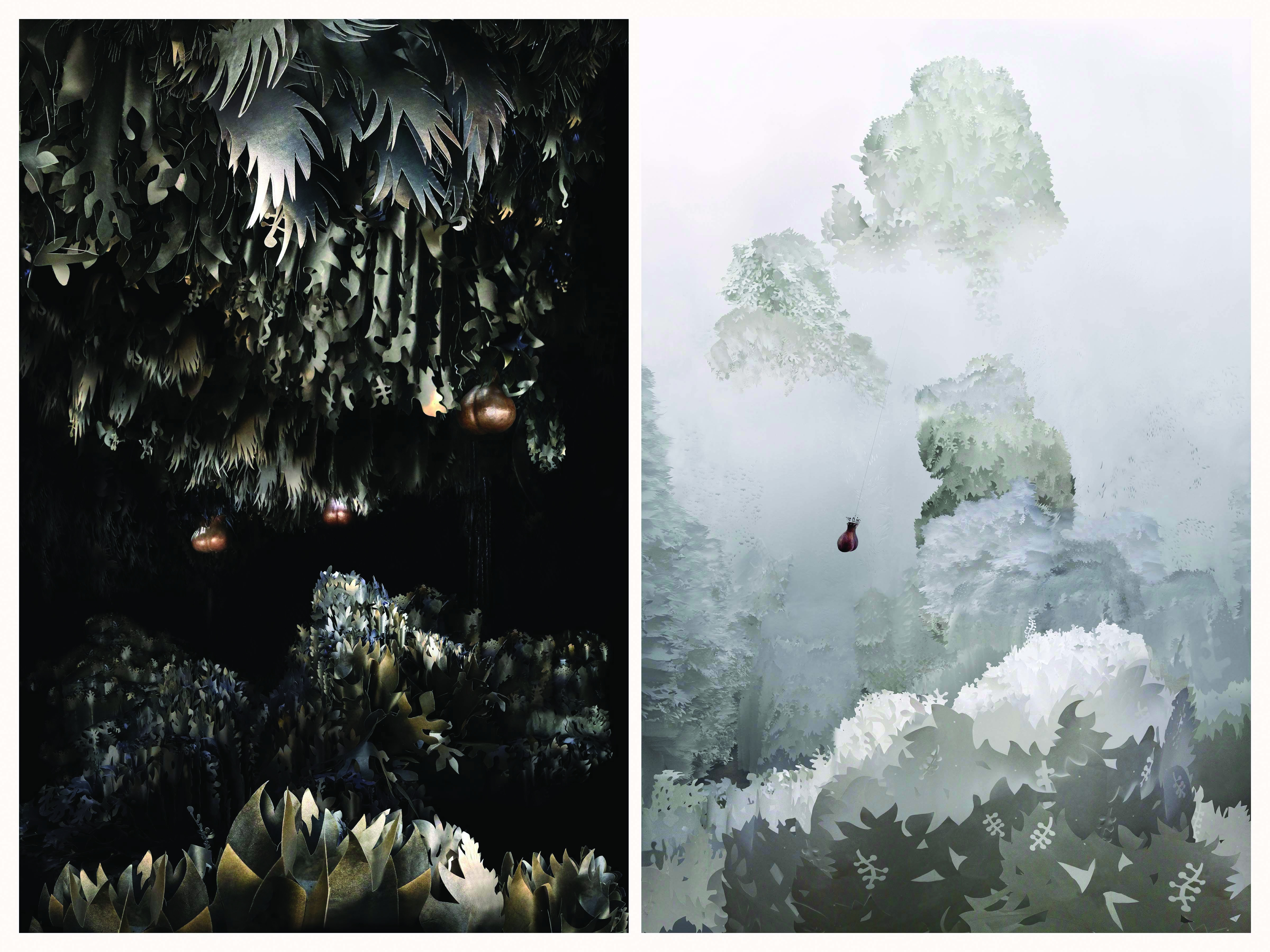 Jennifer Wen Ma,  <i>In the Dark and Light of Cry Joy Park,  detail, 44 x 56 inches each, sets of two panels </i>, digital print  on silk crepe