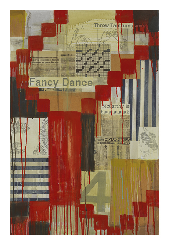 "Jaune Quick-to-See Smith, ""Fancy Dance,"" 2003, Mixed media on canvas, 36 x 24 inches, Photo Credit: Courtesy of the artist and Garth Greenan Gallery, New York"