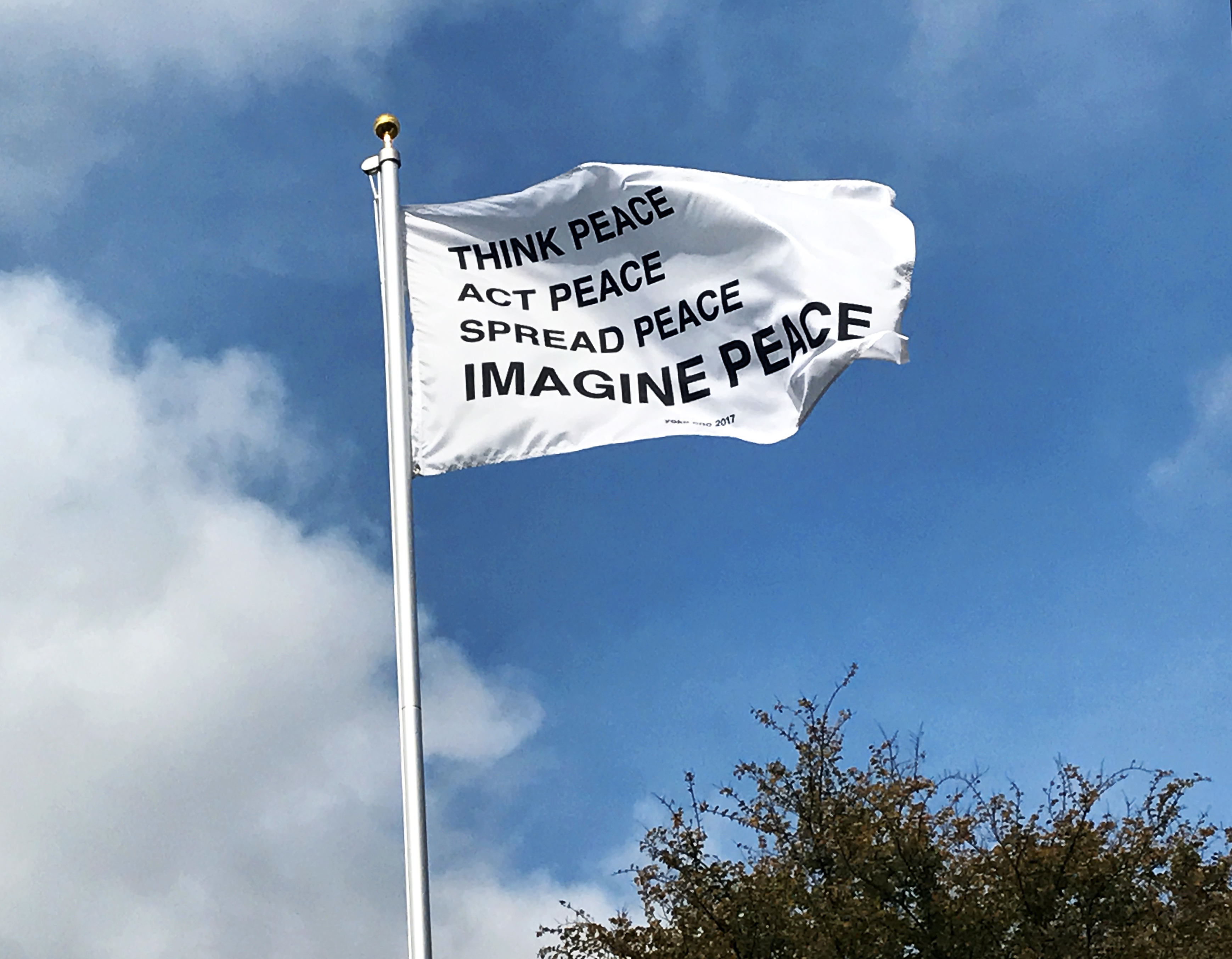 Yoko Ono,<i> IMAGINE PEACE</i>, 2017, Flag, commissioned as part of Creative Time's Pledges for Allegiance Texas State Galleries, San Marcos, Texas, Photo: Rebecca Marino Photo courtesy of Creative Time