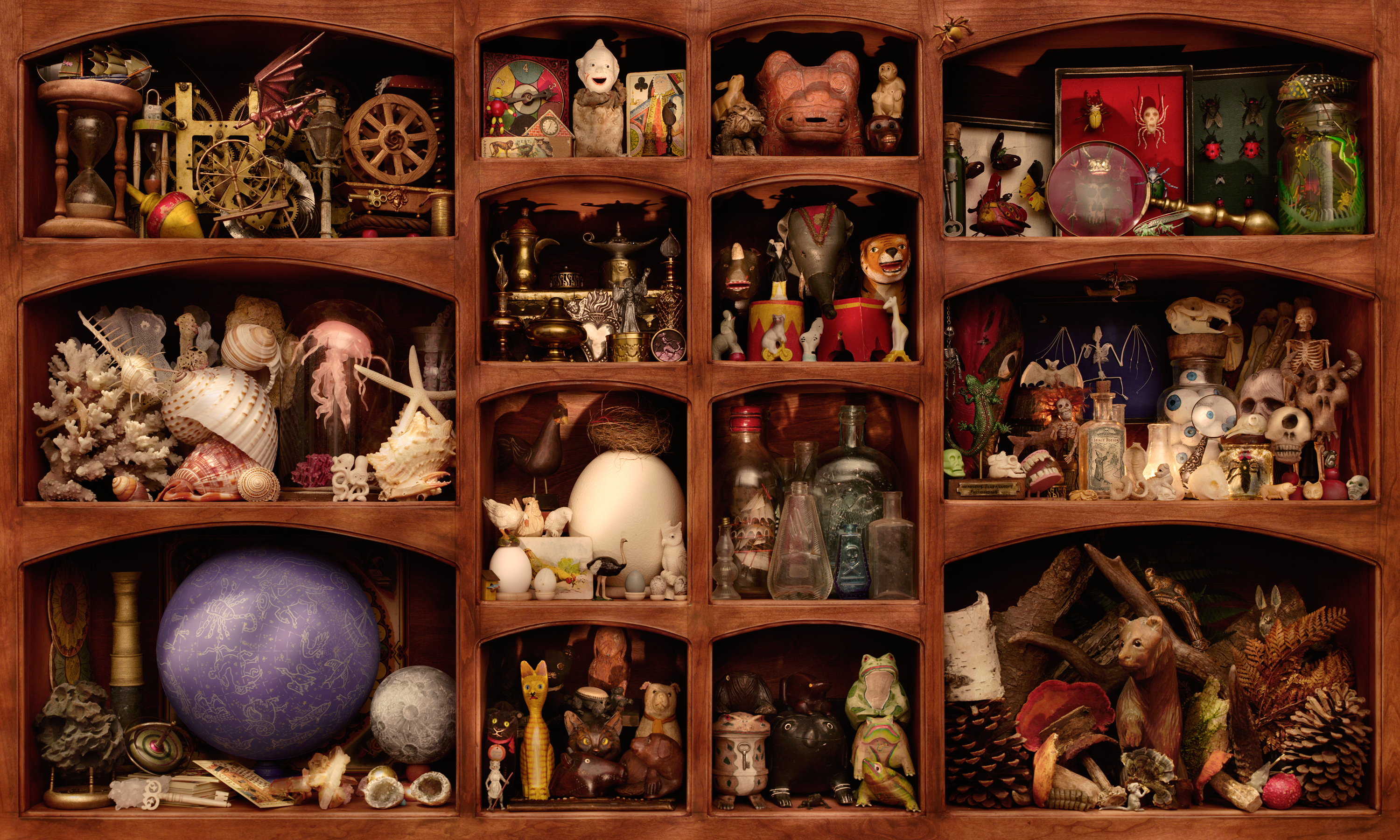 """Walter Wick, <i> In A Scary Scary Cupboard from Can You See What I See? On A Scary Scary Night</i>, 2007, Pigmented inkjet photograph, 50"""" x 30"""", Gift of Walter Wick and Linda Cheverton Wick"""